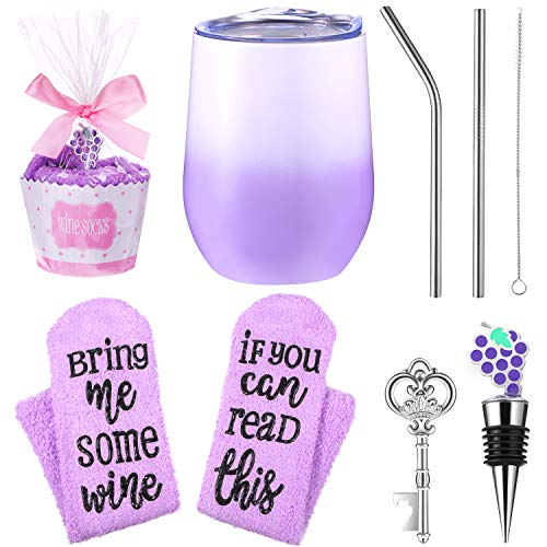 Gift Set, Cupcake Socks 12 oz Stainless Steel Tumbler Double Insulated Stemless Tumbler with Lid, Straw, Key Bottle Opener and Stopper, Gift for Women Girls (Gradient Purple)