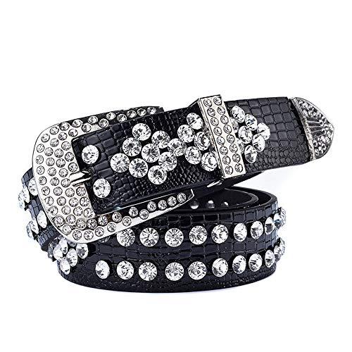 - Women's Belts Women's Decorative Belt Fashion Luxury Hand-Studded Belt Ladies Jeans Belt Black Belt Accessories (Color : Black, Size : 110cm)
