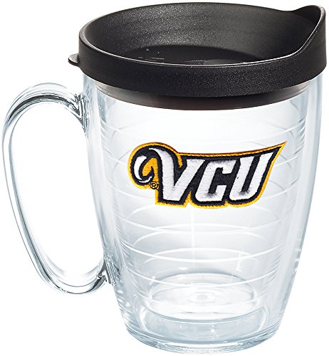 Tervis 1185731 VCU Rams Logo Tumbler with Emblem and Black Lid 16oz Mug, Clear ()