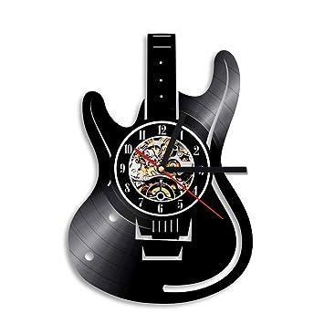 QUTICL 1 Pieza Instrumentos Musicales Reloj de Pared de Vinilo Guitarra Eléctrica Reloj de Guitarra de Tiempo de Arte Hecho A Mano Único: Amazon.es: Hogar