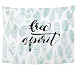 zebra snow brush - SPXUBZ Wall Tapestry Free Spirit Phrase with Feathers Lettering with Ink Modern Brush Calligraphy Wall Hanging Decoration Soft Fabric Tapestry Perfect Print for House Rooms