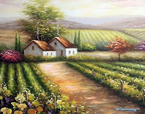 100% Hand Painted Italian Vineyard Family Home Purple Grapes On Vine Canvas Oil Painting for Home Wall Art by Well Known Artist, Framed, Ready to Hang ()
