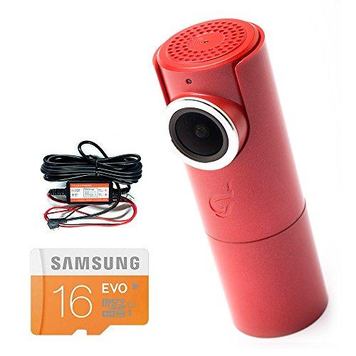 Goluk T3 in FIRE RED car dash cam + Hard Wire Kit for parking surveillance + 16 GB SD Card Super Bundle (Red Digital Cam)