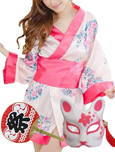AHJ-CP Women's Sexy Kimono Costume Pink with Fox mask , Uchiwa Fan [ Japanese YUKATA ] Halloween Dress (Yukata Halloween Costume)