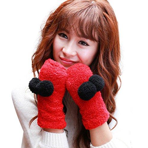Vovotrade Women's Warm Plush Cute Half Finger Warm Gloves (Red)