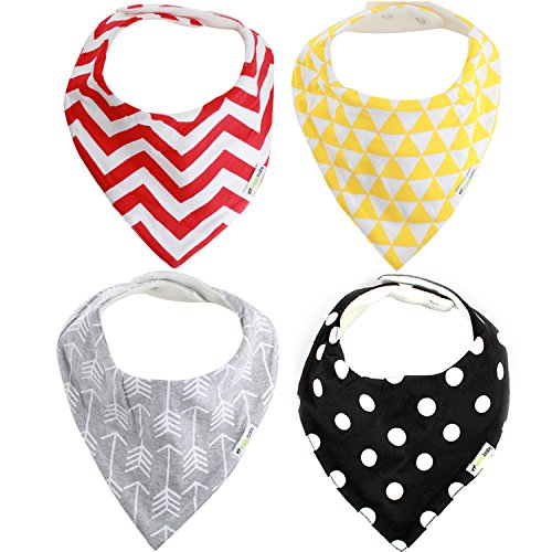 Ziggy Baby Bandana Bibs for Teething Drool (4 Pack), Unisex Gift Set