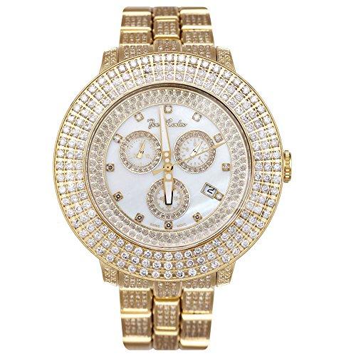 Joe Rodeo JRPL6 Pilot Diamond Watch, Yellow Dial with Gold Paved Band