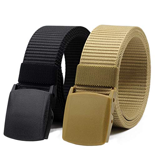 Nylon Canvas Belt Hiking Outdoor Adjustable Belts Unisex Military Style Casual Army Outdoor Tactical Plastic Buckles Webbing for Men and Women 2 pack By ANDY GRADE (Style 1) (Plastic Canvas Fashion)