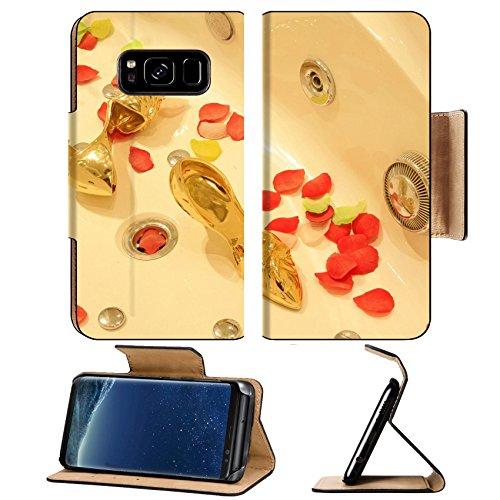 Luxlady Premium Samsung Galaxy S8 Plus S8+ Flip Pu Leather Wallet Case IMAGE ID: 34770314 Ceramic tub rose petals and gold heels closeup of (Tub Target)