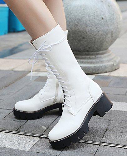 Mollet Femme Tige Mode Blanc Moyenne Aisun Bottes Chunky Talon À tEqdpE