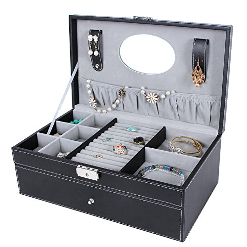Incroyable SONGMICS Black Leather Jewelry Box 6 Watch Organizer Storage ...