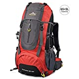Vbiger Hiking Backpack Water Resistant Daypack 65+5L for Camping, Trekking and Mountain Climbing (Red, 65L) Review