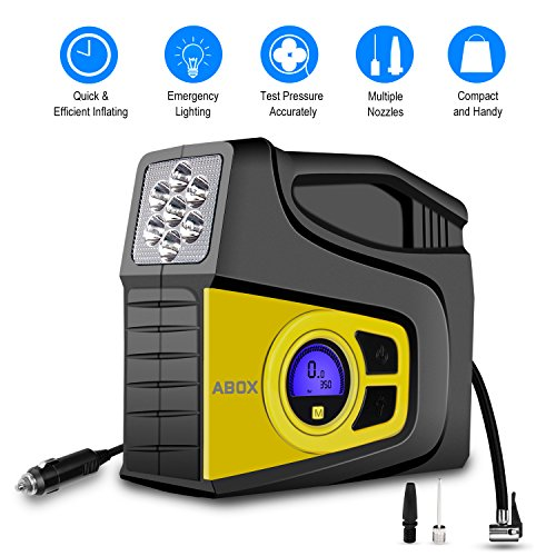 Best Prices! ABOX Portable Air Compressor Pump Tire Inflator with Digital Gauge Auto Off LED Light, ...