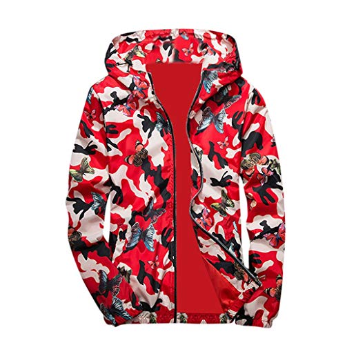 HULKAY Mens Hoodies Coats,Upgrade Fashion Camouflage Butterfly Print Hooded Tops Blouse Outerwear Hip hop Pullover(Red,M) ()
