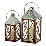 The Crosby Street Cross Post Candle Lantern Hurricanes, Set of 2, Silver Hammered Metal, Sustainable Pine Wood, Glass, 21 5/8 and 27 1/2 Inches Tall By Whole House Worlds