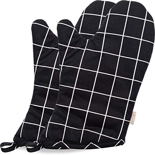(NEOVIVA Heat Resistant Oven Mitts for Everyday Kitchen, Cotton Oven Mitt Set of 2 for Adults, Nordic Plaid Pirate Black)