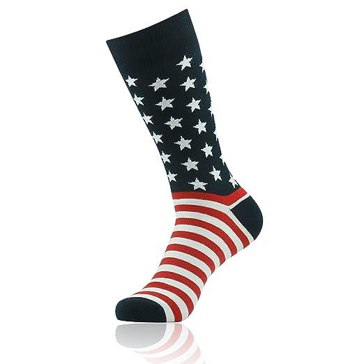 cbb6a7df6998 Patriotic American Flag Socks, SUTTOS Men's Crazy Black Red White Striped  Stars Casual Fun Christmas
