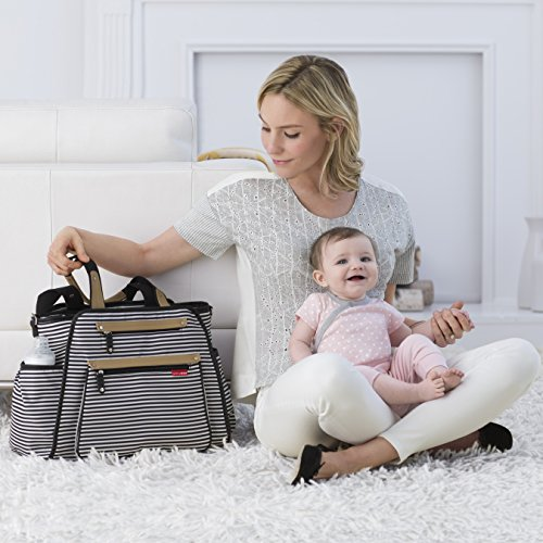 Skip Hop Diaper Bag Tote with Matching Changing Pad, Grand Central, Black & White Stripe by Skip Hop (Image #8)