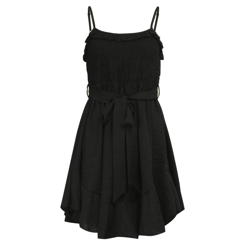 Yaseking Fashion Women Sexy Solid Color Casual Ruffles Belt Bandage Ladies Ruched Mini Dress (S, Black)