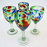 Mexican Glass, Wine, Hand Blown, Liquid Confetti Swirl Design (Set of 4) 12 Oz