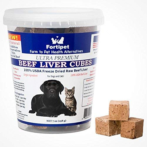 - Fortipet Freeze Dried Raw Beef Liver Cubes Healthy Dog and Cat Training Treat Supplement, Best USDA Grass Fed Beef 7 Ounces