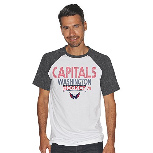 Nhl Washington Capitals Mens Heritage Color Block Short Sleeve Tri Blend Top  X Large  White Charcoal