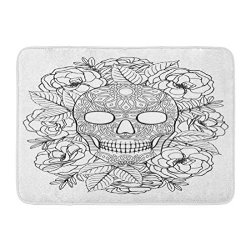 (Aabagael Bath Mat Zentangle Black Adult Sugar Skull A4 Coloring Book Page White Tattoo Halloween Bathroom Decor Rug 16