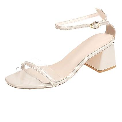 38e517a48b3 Amazon.com: Women Low Chunky Sandal - Ladies Clear Open Toe Block ...