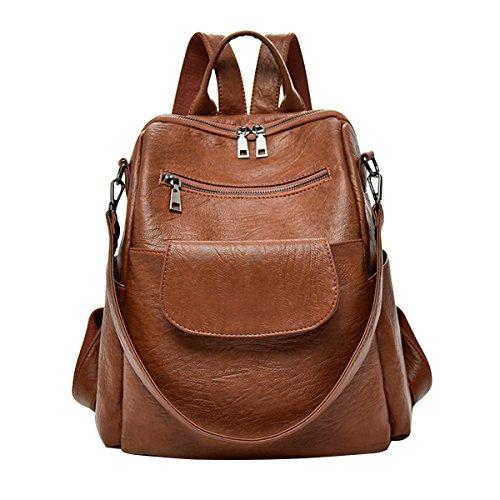 ABage Women's Washed Leather Backpack Purse Handbag Travel College School Shoulder Bag, Brown1