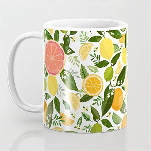 Punch Bowl Pattern Coffee Mug,Orange Floral Grapefruit Blossom Leaf Plants Green Yellow Home Tree Mug