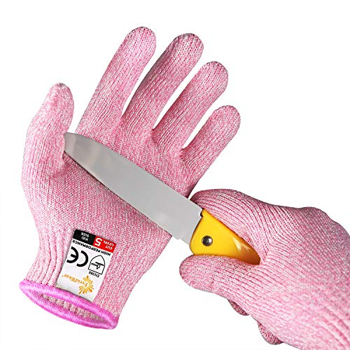 EVRIDWEAR Kid Sized Cut Resistant Work Gloves for Kitchen Use, Crafts, DIY, Garden and Yard works. Children Food Grade Kevlar Safety Gloves for Hand Protection from knives M (8-11YRS), Pink