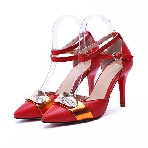 VogueZone009 Damen Gemischte Farbe PU Leder Stiletto Spitz Zehe Schnalle Pumps Schuhe Rot