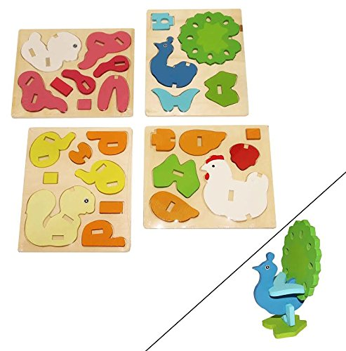 Price comparison product image Dazzling Toys 3D Wooden Assemble Farm Animals,  4 pack