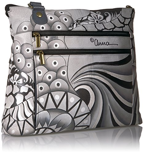 Large Painted Pewter Anuschka Crossbody Patchwork Hand Leather qzx5Rwgt