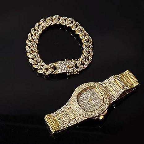 ISMILE Collar De Color Plateado + Reloj + Pulsera Cadena De Bordillo De Hip Hop con Diamantes De Imitación Pavimentados Cz Rapper para Hombres Joyería
