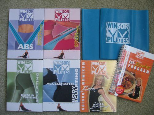 Winsor Pilates Super Pack (Accelerated Body Sculpting, Bun & Thigh Sculpting, Maximum Burn Basics & Fat Burning with Cookbook and Exercise Planner, Power Sculpting and Power Sculpting ABS with Resistance Band Included) by Winsor Pilates Super Pack