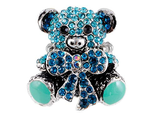 Alilang Silver Tone Aquamarine Blue Cute Teddy Bear Girlfriend Valentines Crystal Rhinestone Ring