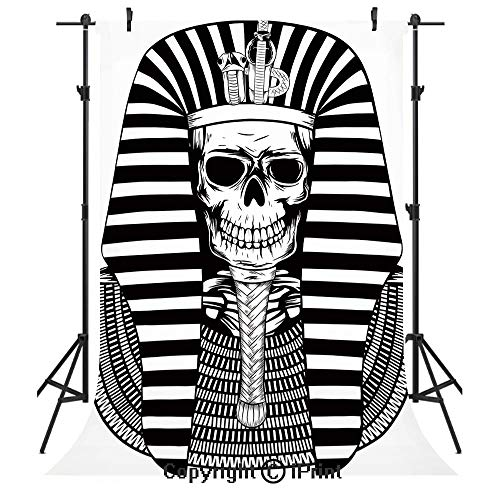 (King Photography Backdrops,Egyptian Pharaoh Ruler Mummy Skull Skeleton Statue for Ancient Egypt Lovers Print,Birthday Party Seamless Photo Studio Booth Background Banner 5x7ft,Black and White)