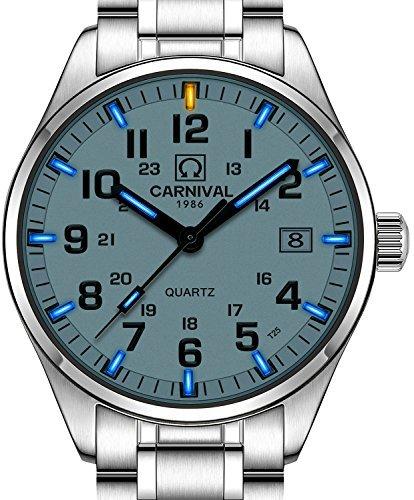 CARNIVAL Men's Tritium Watch Blue Light Swim Sapphire Glass Stainless Steel Analog Quartz Luminous Watches