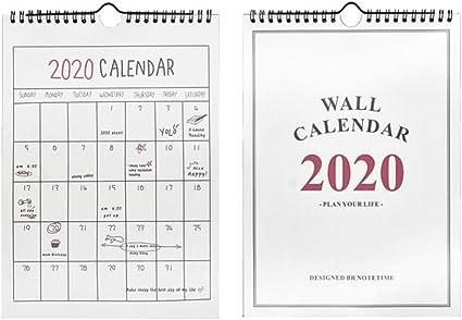 Amosfun calendario 2020 creativo decorativo colgante papel mensual 2020 calendarios memo calendario calendario de pared para oficina hogar 2 piezas: Amazon.es: Oficina y papelería