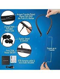 (Newest diseño Retro) mofuu mk905 retráctil HiFi Premium auricular bluetooth estéreo para iPhone o Android o otros dispositivos Bluetooth capaz, Negro