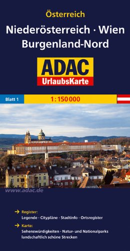 ADAC Urlaubskarte Niederösterreich, Wien, Burgenland Nord 1:150.000 (ADAC UrlaubsKarten Österreich 1:150.000)