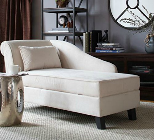 Storage Chaise Lounge Chair -This Microfiber Upholstered Lounger Is Perfect for Your Home or Office - Put This Accent Sofa Furniture in the Bedroom or Living Room - Gift - Free Decor Pillow! (Khaki) (Beige Microfiber Chaise)