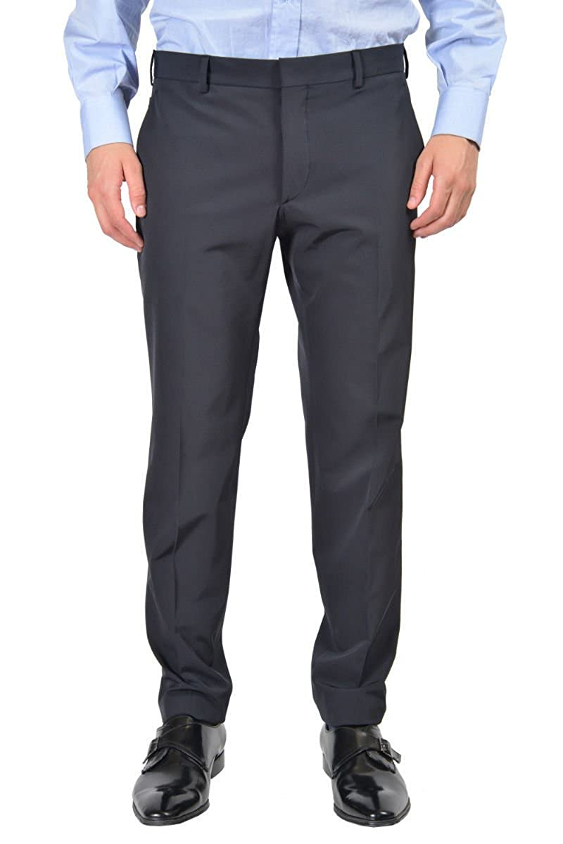 5b2f2d6c Amazon.com: Prada Men's Black Flat Front Wool Pants Size US 30 IT 46 ...