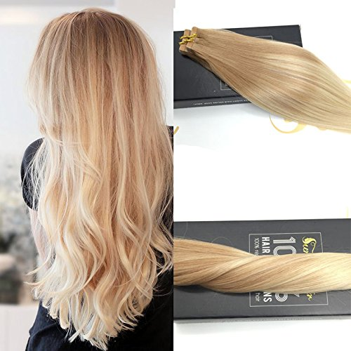 Sunny 14inch 20pcs/50g Multi Color Golden Blonde Mixed Light Blonde 100% Straight Remy Human Two Tone Ombre Tape in Human Hair Extensions (2 Tone Hair)