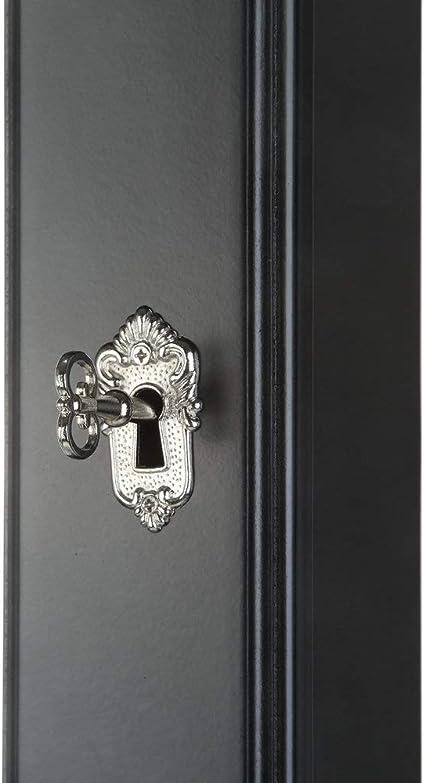 Floor mirror-BH Caja de joyer/ía para Colgar en la Pared de Madera Maciza de Gran Capacidad con Cerradura para joyer/ía Espejo de tocador para el hogar L0514 gabinete de Almacenamiento