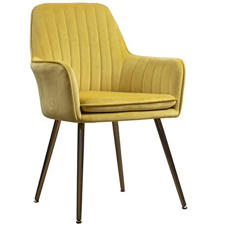 Astounding Lansen Furniture Modern Living Dining Room Accent Arm Chairs Club Guest With Gold Metal Legs Yellow Evergreenethics Interior Chair Design Evergreenethicsorg