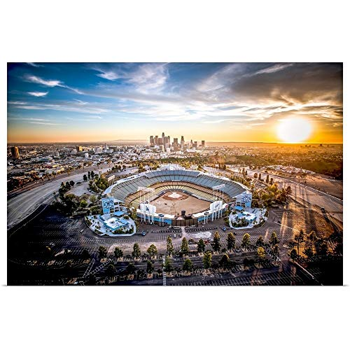 Great Big Canvas Poster Print Entitled Aerial View of The Dodgers Stadium with The Los Angeles Skyline in The Distance by Copterpilot Photography 36