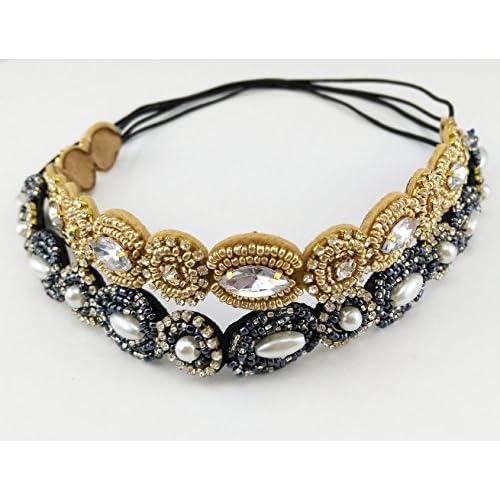1f225c5463d good yueton Pack of 2 Handmade Crystal Rhinestone Beads Elastic Headband  Hair Band Women Hair Accessories