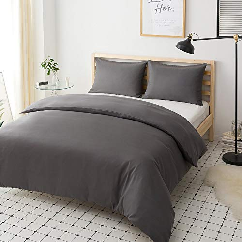 Non-Iron-Duvet-Cover-Set-3-PCS-Double-Plain-Brushed-Microfiber-Bedding-Duvet-Cover-with-Pillowcases-Grey